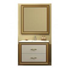 Комплект мебели Opadiris Карат 80 Белый глянцевый с золотой патиной