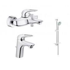 Смеситель 3 в одном на ванну, раковину и душевой гарнитур Grohe Eurostyle 124416