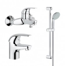 Смеситель 3 в одном на ванну, раковину и душевой гарнитур Grohe Euroeco 124428