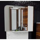 Зеркало с подсветкой и шкафчиками 80 см белое орех Edelform Иннато 80
