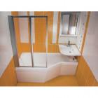 Шторка на прямоугольную ванну Ravak VS2 105 сатин + Транспарент