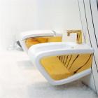 Биде подвесное Hidra Ceramica Hi-Line HIW14 белое/золото