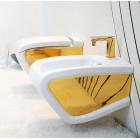 Унтитаз подвесной с крышкой микролифт Hidra Ceramica Hi-Line HIW10 + HIZ белый/золото