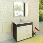 Зеркало со шкафчиком 90 см венге белый Comforty Барселона 90 зер. вен.