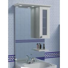 Зеркало с подсветкой и шкафчиком 60 см правое белое Aqualife Гент 2-201-032-S