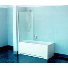 Шторка на ванну неподвижная 80 см Ravak PVS1-80 белая + Транспарент