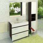 Зеркало со шкафчиком и подсветкой 90 см венге белый Comforty Манчестер 90 зер. вен.